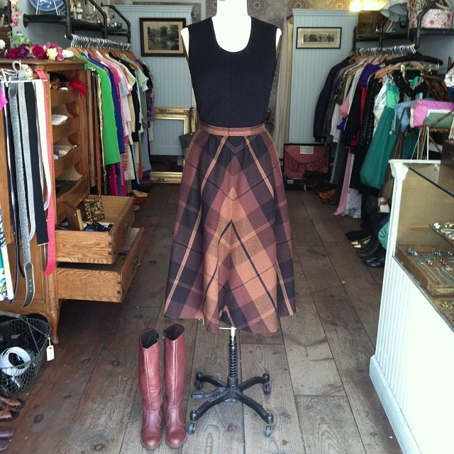 Fall weather is finally here! #vintage ribbed knit tank $40 size M, #vintage #EvanPicone wool plaid skirt  $62 size 4, #vintage #Dexter leather boots size 5 ½ #antoinettevintage  (at Antoinette)