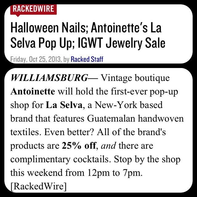 Some more ❤for the weekend pop-up on @rackedny ! #laselvaclothing #antoinettevintage #rackedny (at Antoinette)