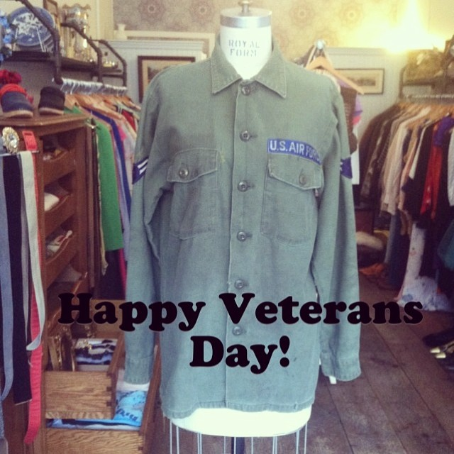 Since we're closed on Monday's we didn't get to post so in honor of yesterday's holiday we're posting today! #vintage Vietnam Air Force field jacket (sizing seems to be medium) $70 #antoinettevintage (at Antoinette)