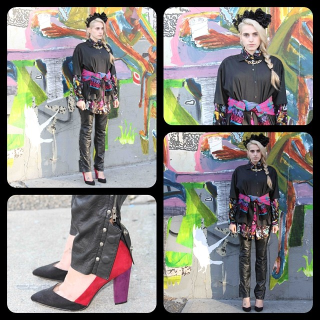 "Fall/Winter Lookbook Week #3 & our rendition of @styledotcom 's ""Punk"" #vintage #HarleyDavidson leather pant size W38 $95, #JustForYou printed top size L $38, 100% Silk black top size S/M $68, custom made floral crown $70 *Stop in or call the shop for availability on any of these pieces shown 718-387-8664 #antoinettevintage #floralcrownsbyAM #AntoinetteBabeSabina (at Antoinette)"