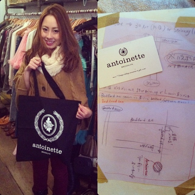 We seriously don't know which is cuter! Saori or the map her friends from Japan made her for getting to the shop! (We're going with Saori) #antoinettevintage ❤🇯🇵 (at Antoinette)