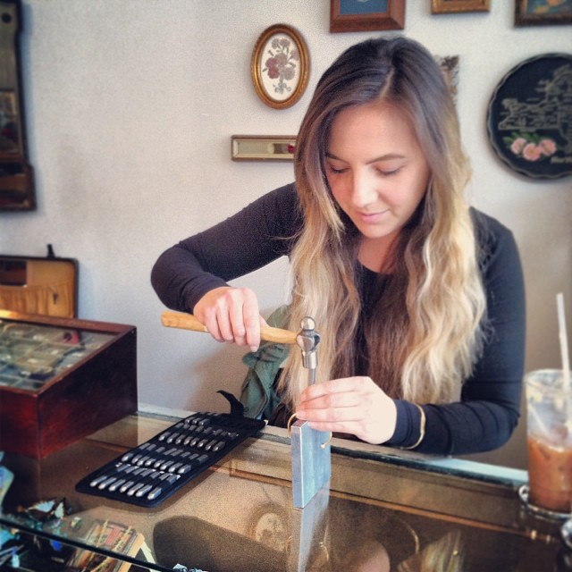 Stamping initials in ID bracelets for today's holiday event supporting @unicefphils …also come get a apple cider whiskey cocktail! #antoinettevintage (at Antoinette) AND WE ARE OFFICIALLY SOLD OUT! THANKS TO EVERYONE WHO SUPPORTED A GOOD CAUSE!<3