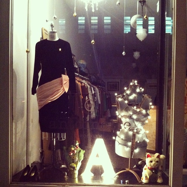 Our Holiday 2013 window is done & here's a pic of how dreamy it looked last night! #antoinettevintage 🎅🎄🎐 (at Antoinette)