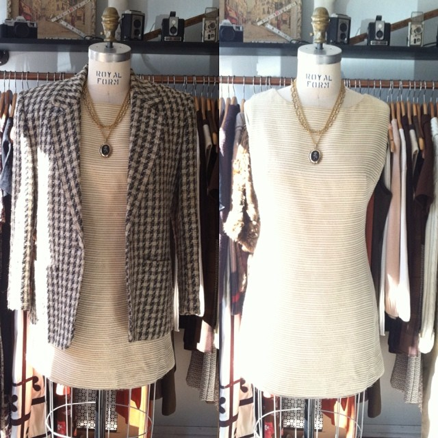 Another mouth watering Antoinette X American Drifter Collab! Vintage 60's Mod gold/ivory lurex dress $68 size S, Vintage 80's blazer $40 size 2 #antoinetteXamericandrifter #antoinettevintage #americandriftervintage #vintage #1960s #1980s #madeintheusa #brooklyn #williamsburg #popup #ootd (at Antoinette)