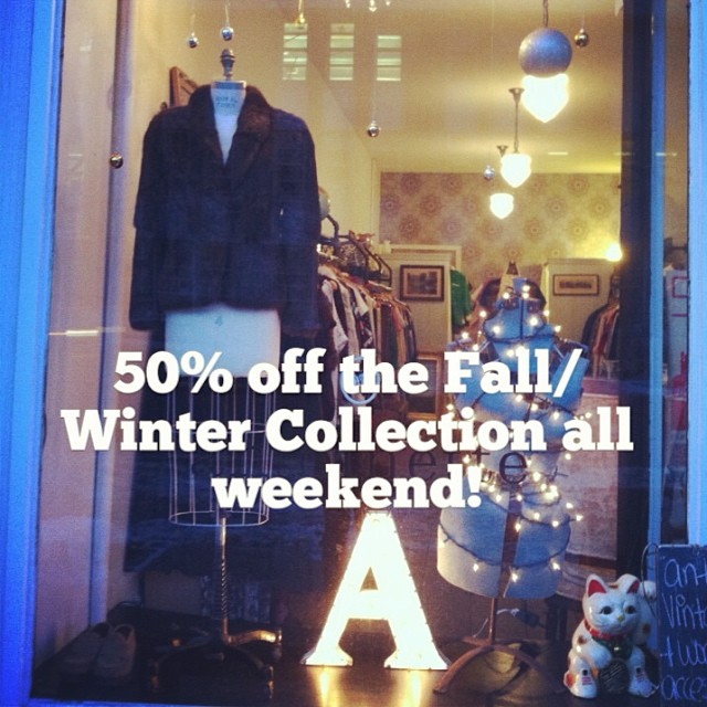 Starts today at Noon…Serving cocktails all weekend too! Oh & yes the #vintage fur in the window is also 50%off! #antoinettevintage #brooklyn #williamsburg ❄️❄️❄️ (at Antoinette)