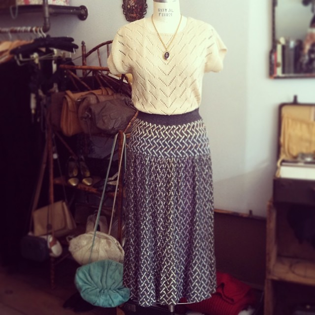 Our 50% Fall/Winter Sale ends today! This #vintage pointelle sweater $50 size S\M & hand loomed #BrendaFrench knit skirt $70 size S/M is also ½ off! #antoinettevintage #brooklyn #williamsburg #ootd  (at Antoinette)