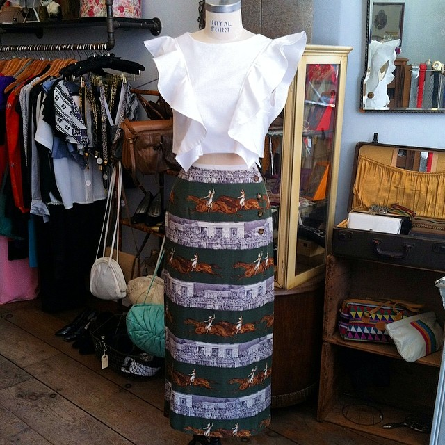 Today's outfit of the day is mixing old with new! #Vintage Horsie skirt by #ScottTaylor size 4 $70 & the #MagnoliaCropTop by #VivaAviva size M $125 #ootd #antoinettevintage #madeinusa #madeinbrooklyn #thriftandstyle #oneofakind #brooklyn #williamsburg (at Antoinette)
