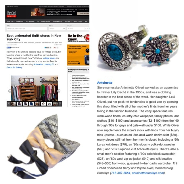 Thanks @timeoutnewyork for including us on your #NYC Best List! 👏👍 #TimeOutNY #antoinettevintage #brooklyn #williamsburg #vintage #thrift #nyfw  (at Antoinette)