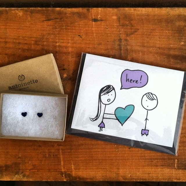 Dudes it's not too late…cutest little pair of #vintage ❤️ earrings ($25) & the perfect card (hand made here in #Williamsburg #Brooklyn ) make the perfect #ValentinesDay gift! #antoinettevintage #hashtagtheplanet  (at Antoinette)