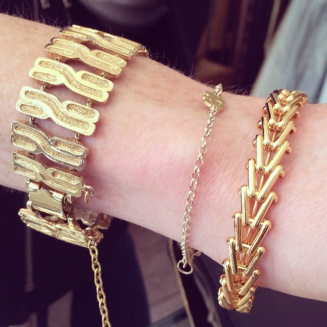 So happy mom's 1970's gold chunky bracelet is going home with this #antoinettebabe 's other gold pieces :) #vintage #brooklyn (at Antoinette)