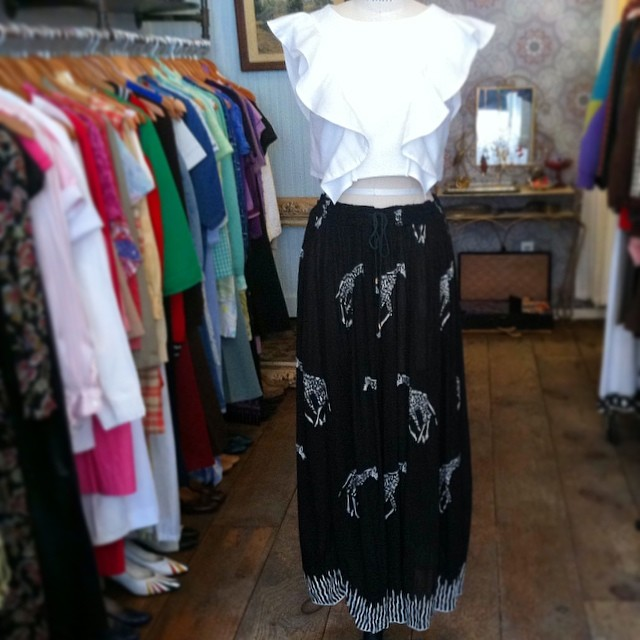 The perfect outfit for the 1st day of #coachella ! @viva_aviva #magnoliacroptop size M $125 & #vintage #1990s giraffe print maxi skirt O/S $68 #antoinettevintage #vivaaviva #coachella2014 #fuckcoachella #ootd #williamsburg #brooklyn #madeinusa #oneofakind #thriftandstyle  (at Antoinette)