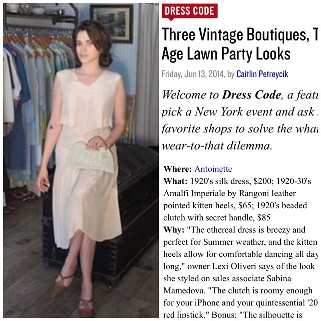 It feels pretty magical to be one of @rackedny 's favorite #vintage boutiques! Check out today's Dress Code feature & which vintage shops have your perfect #1920s look for this weekend's @jazzagelawnparty on #GovernorsIsland #antoinettevintage #antoinettebabeSabina #rackedny #dresscode #nyc #streetstyle #madeinusa #oneofakind #ootd #williamsburg #brooklyn #thriftandstyle #jazzagelawnparty (at Antoinette)