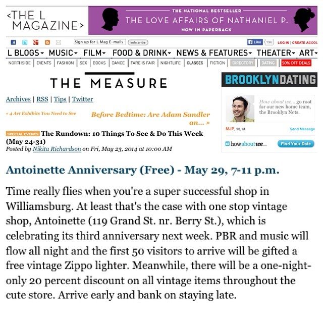 "Our Event made it to @thelmagazine 's ""The Rundown: 10 Things To See & Do This Week"" List! Thanks for the #Brooklyn ❤️ guys! #antoinettevintage #vintage #BrooklynMagazine #williamsburg #thriftandstyle  (at Antoinette)"