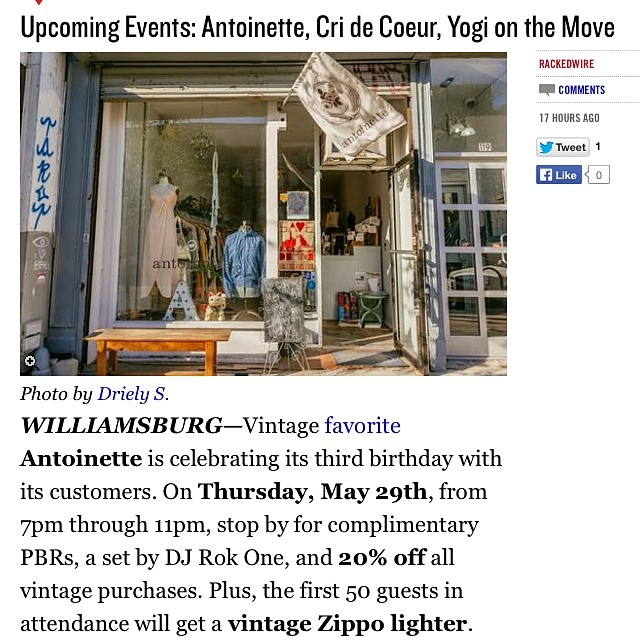 This shot of the shop looks super dreamy on today's @rackedny post …Thanks for the ❤️ guys & see you at tomorrow's party! #antoinettevintage #vintage #rackedny #williamsburg #brooklyn #thriftandstyle  (at Antoinette)