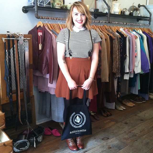 How insanely adorbs is our new customer Gabby!?  She visited us all the way from ☀️ Florida because she saw the shop on BK babe @noelledowning 's blog! Enjoy your #BrooklynSuspenders bb!   #antoinettevintage #madeinusa #williamsburg #brooklyn #thriftandstyle  (at Antoinette)