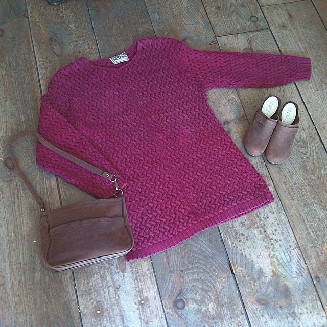 Magenta just so happens to be the color for Fall 2014👌#vintage early #1990s sweater dress size S $50 #NinaZ #SaraClogs $159 sizes 36-41 #1970s suede #vintagebag $35  #antoinettevintage #ootd #madeinusa #oneofakind #williamsburg #brooklyn #thriftandstyle (at Antoinette)