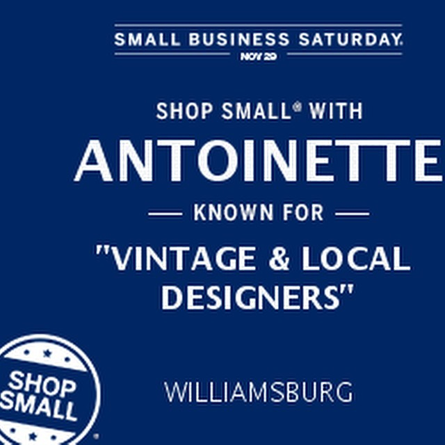 This Saturday, Nov. 29th is #SmallBizSat & you're invited to #ShopSmall & support Small businesses like us! ✨🏦  Mention this post & get a special discount at checkout *in-store only   #antoinettevintage #vintage #madeinusa #oneofakind #williamsburg #brooklyn #supportlocal #amex (at Antoinette)