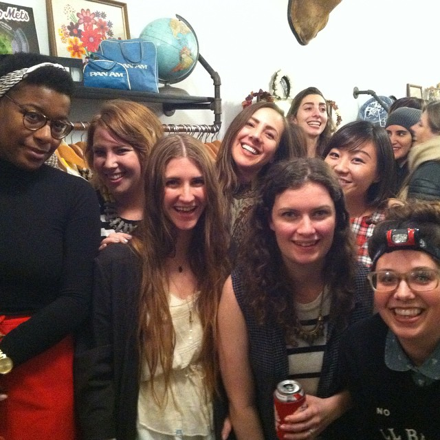 The gang's all here! #onestoppopupshop #antoinettevintage #gollymagazine #tabbisocks #tealeigh #williamsburg #brooklyn (at Antoinette)