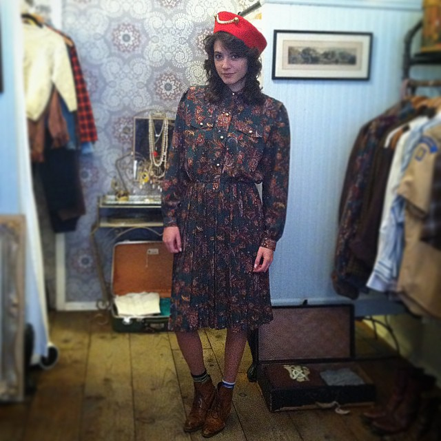 This Beauty from Argentina makes it look it effortless in all #vintage #antoinettevintage #madeinusa #ootd #oneofakind #williamsburg #brooklyn (Hat SOLD) 👍 (at Antoinette)