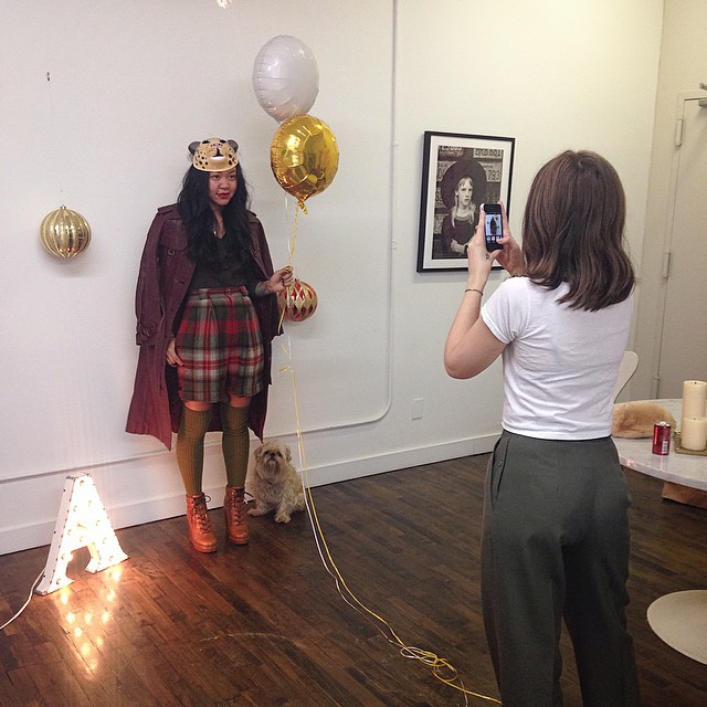 #BTS sneak peek of our #12DaysofAntoinette #Holiday2014 lookbook, ✨starring the unstoppable ✨ @sophiecestlavie ✨  #antoinettevintage #vintage #LucasBranding #williamsburg #Brooklyn #NYC  (at Lucas Branding // 27 W 20th)