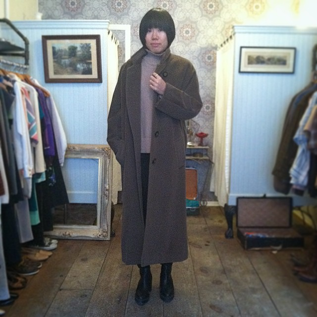 We just got a fresh batch of Vintage coats in the shop! All under $100! Asumi is modeling a vintage Christian Dior, sizing is L but so on point for that oversize look ✨👌✨ (at Antoinette)