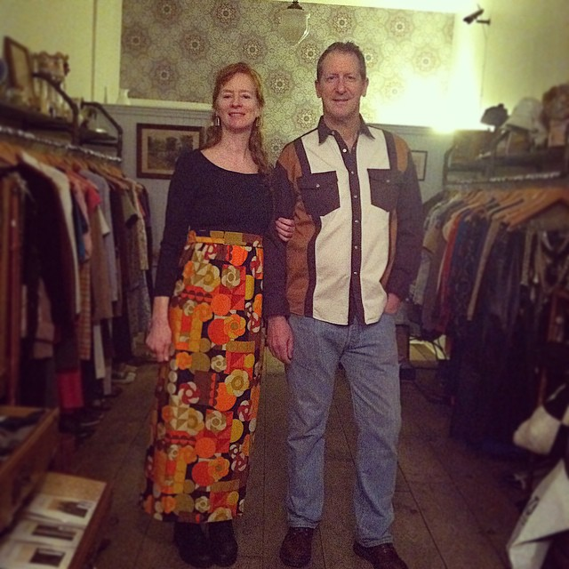 The best part of our day just happened! This dashing couple came in from Manhattan to pick up their last minute #Vintage party outfits… Have fun at your Oscar party Ann & Richard! 👑🎩 (at Antoinette)