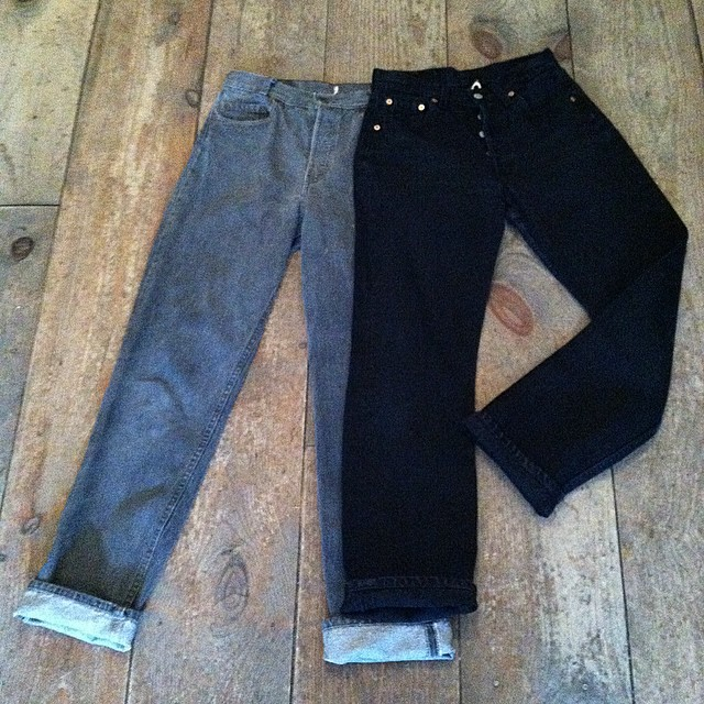 We got our hands on some #Vintage #Levis for you guys 🙌👖 (right) #501 size 29X30 & (left) #701 30X32 $75 #ButtonFly #MadeInUSA  (at Antoinette)