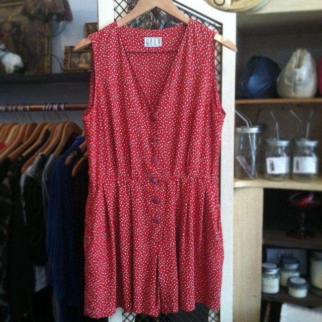 One of the many #Vintage Rompers landing in the shop this week! ❤️⚪️❤️ #1990s Polkadot size M $50  (at Antoinette)