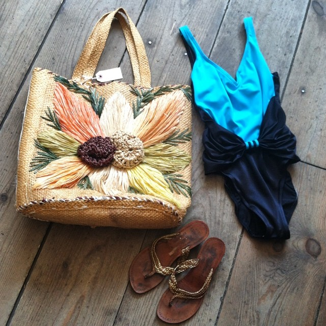 You can never have too much beach! 🌊👙☀️ #vintage #1970s straw bag $60 vintage #1980s bathing suit (size S) $35 vintage #1980s thong sandals (with heel) $45 #madeinusa #oneofakind #ootd #summerstyle #vintageswimwear #williamsburg #brooklyn #thriftandstyle  (at Antoinette)