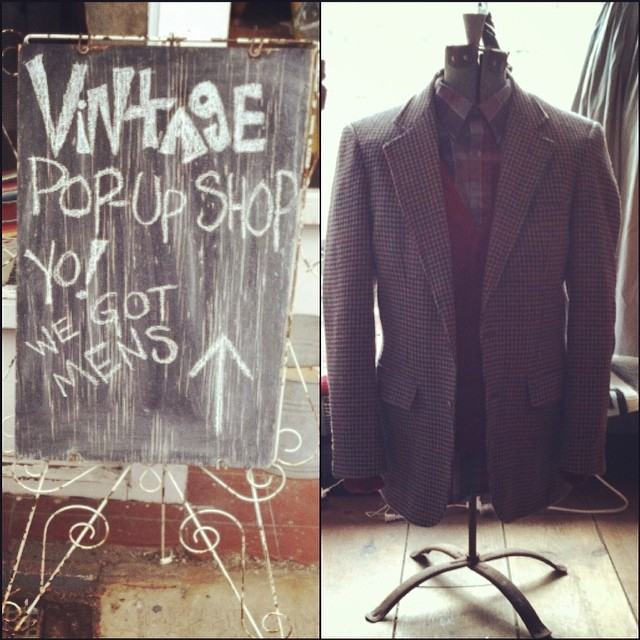 Our chalkboard says it all… @americandriftervintage pop-up continues until Sunday, March 2nd! Vintage houndstooth blazer $62 size M, Burgundy knit cardi $38 size L, Plaid button up $28 size XL #antoinetteXamericandrifter #antoinettevintage #americandriftervintage #vintage #mensvintage #popup #williamsburg #brooklyn #ootd (at Antoinette)