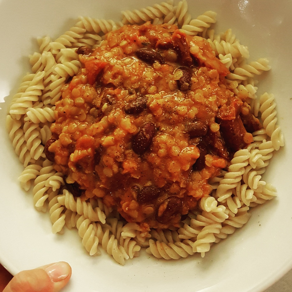 Lentil bolognese with brown rice pasta