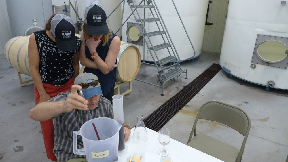 Mara Ferris and Kate Graham look on as Garrett leads the way in the wine making process!