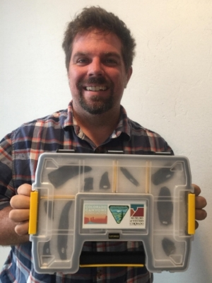 CCA Education Director, Rob Gay, shows off one of our highly portable Paleontology Education Kits!