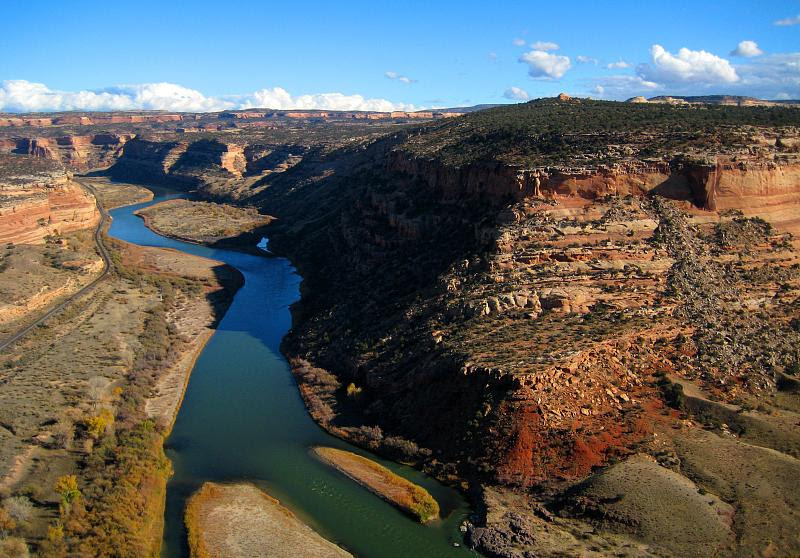 The Colorado River as it winds its way through 200 million years worth of rocks in McInnis Canyons