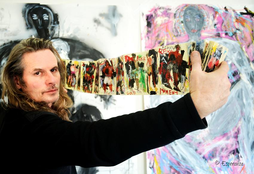 Artist Richard Kurtz in his Santa Fe Studio