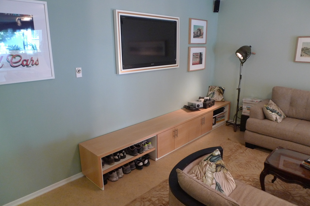 Custom Wood Shoe Storage, Bench, and Cabinetry for Living Room