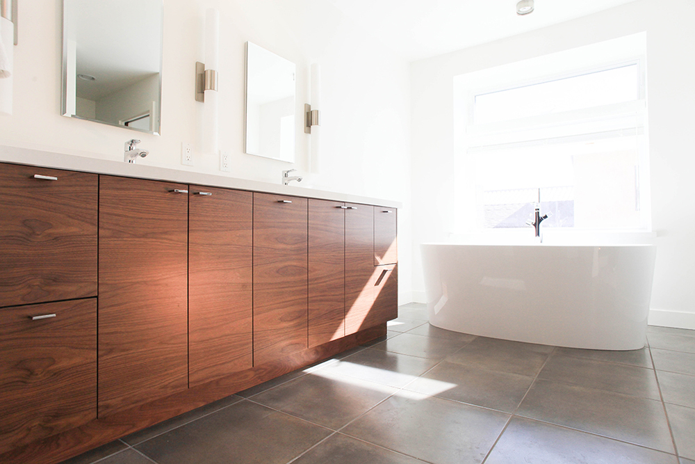 Custom Modern Walnut Bath Vanity