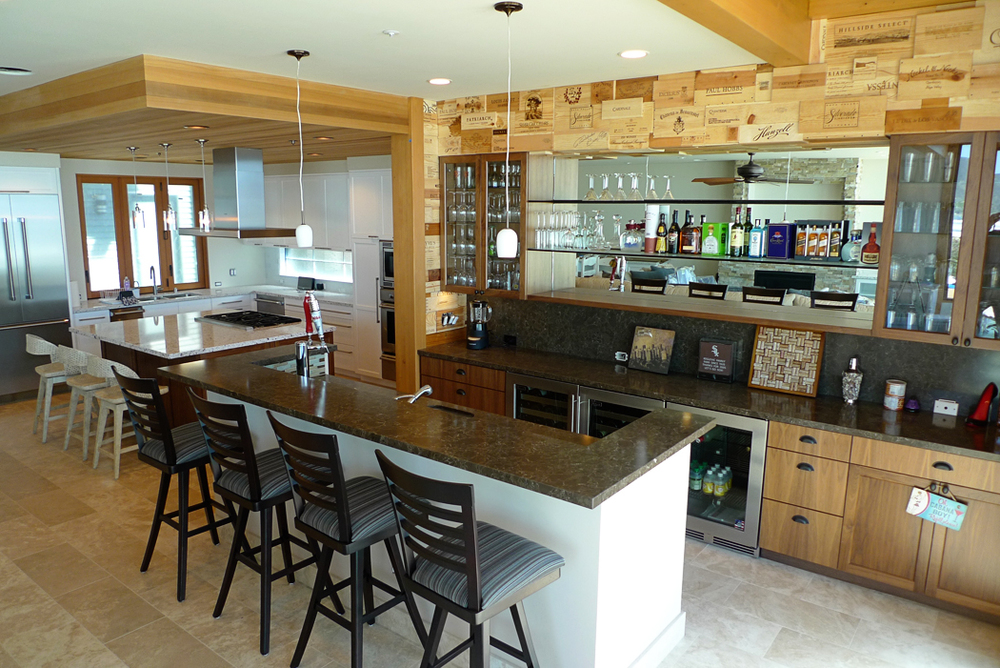 Custom Bar and Wine Crate Wall Beach House Ventura