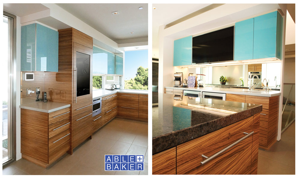 Custom Kitchen Cabinetry with Sequence Matched Zebrawood and Blue Back-Painted Glass