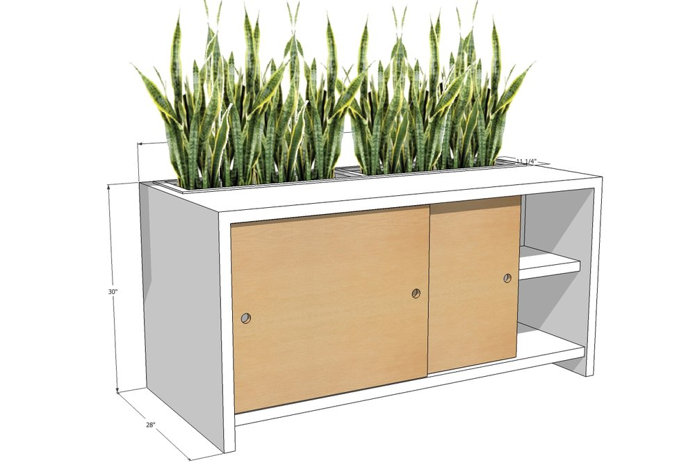 Custom Planter Credenza Beech with Waterfall Solid Surface