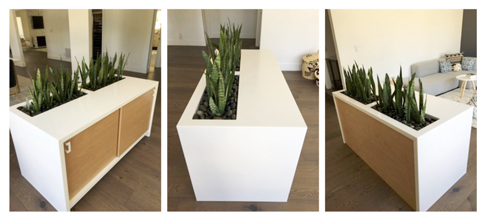 Custom Planter Credenza, Handcrafted Beech with Solid Surface Waterfall Edge and Basin.