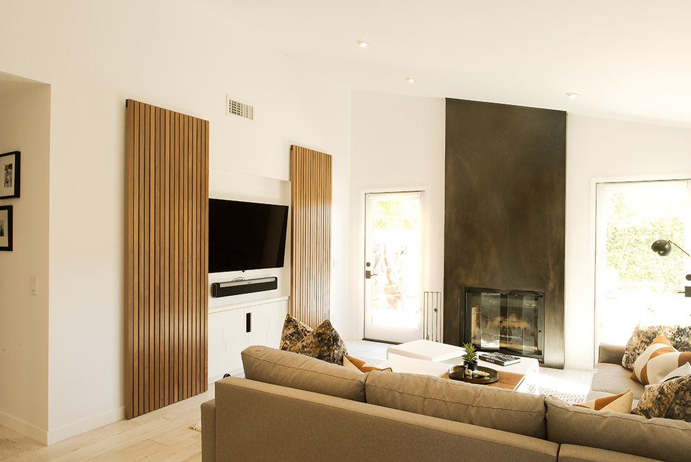 custom sliding doors for entertainment and media center - Media Center With Bookshelves