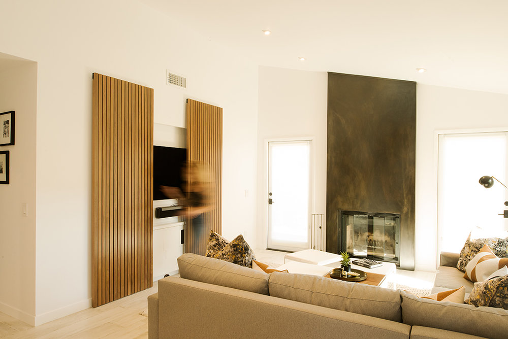 Custom Walnut Slatted Sliding Doors for a Contemporary Home