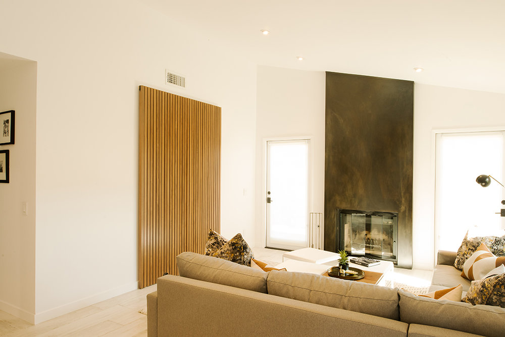 Custom Modern Walnut Sliding Doors for Entertainment Center