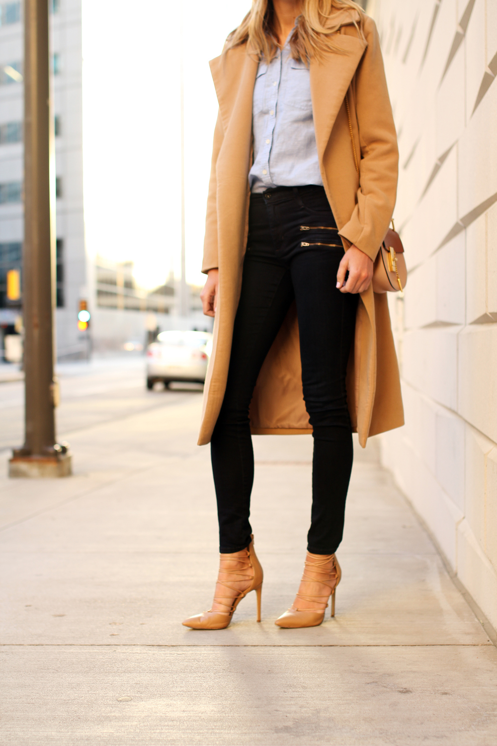 fashion-jackson-missguided-tan-long-wool-coat-james-jeans-crux-nude-lace-up-heels-blue-button-up-shirt.jpg