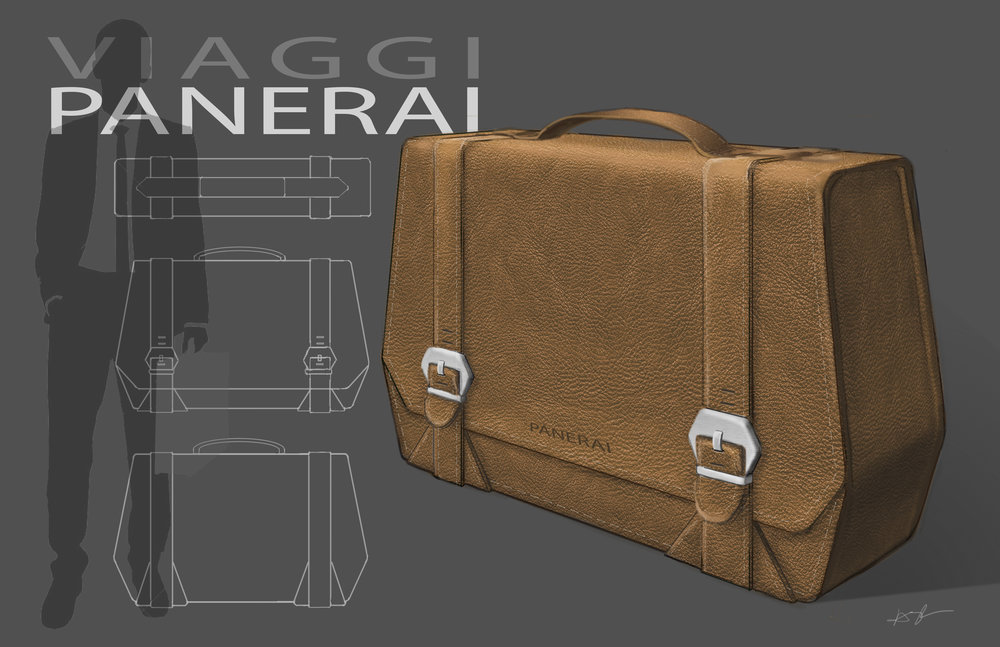 Panerai Messanger Bag - Brief: Identify a market opportunity for the brand Panerai and design a concept product. Identify the company's brand vision, assess current market opportunities, and create a scale prototype.