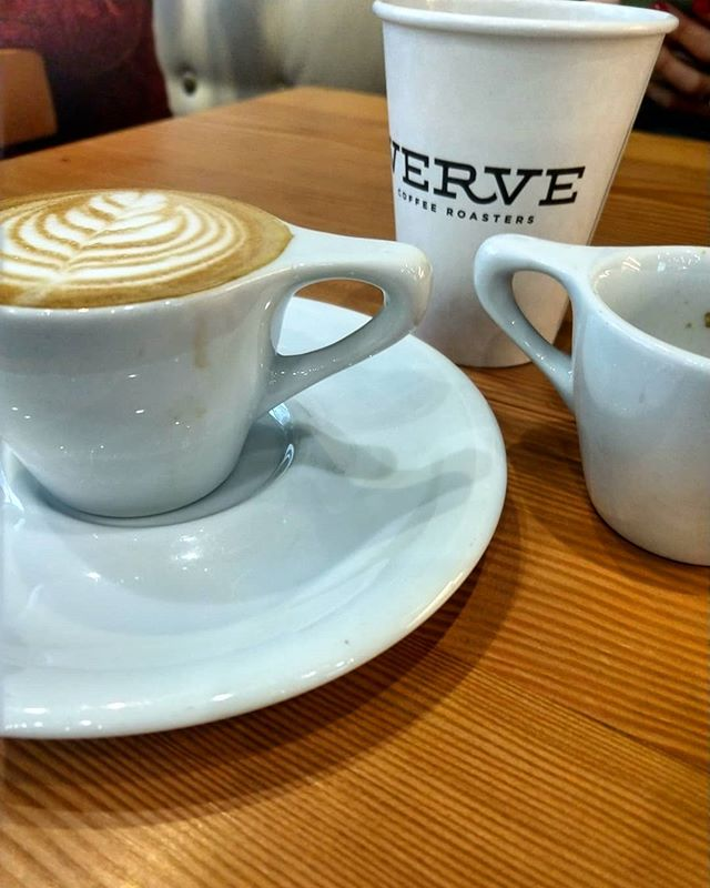 It was a rainy day in Santa Cruz, but we made it to one of our favorite roasters, @vervecoffee . Great atmosphere, two @kvdwespressonisticworks machines working full time, and a crew of talented baristas pouring killer drinks. Grabbed a 1 and 1 with their seasonal espresso, super smooth, well balanced but still some bright acidity. #vervecoffee #visitsantacruz #visitcalifornia #dutchmancoffee  #espresso #drinkgoodcoffee #coffee