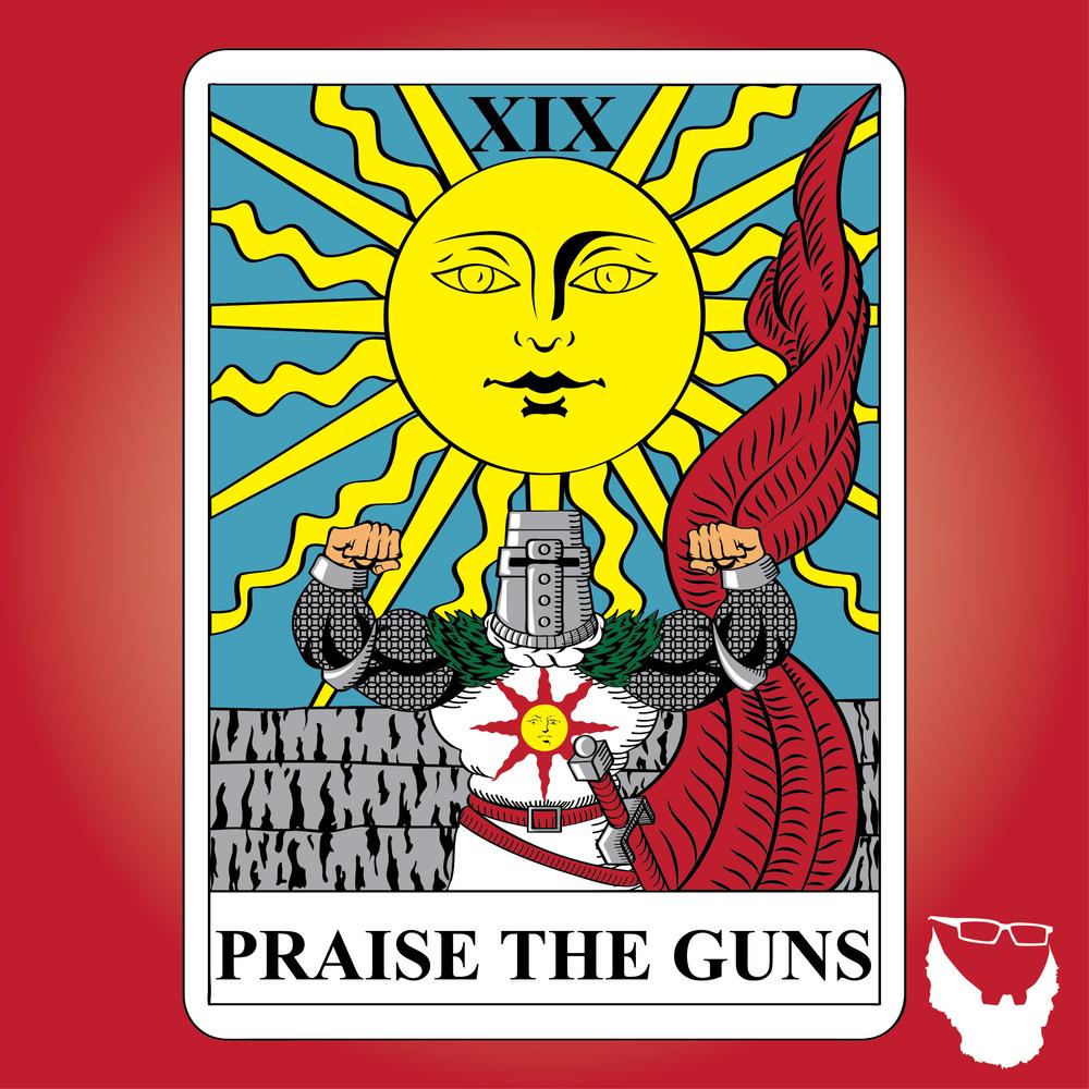 Praise the Guns Tarot Card RED