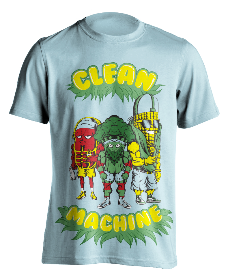 cleanmachine-clean-machine-raskol-apparel-omar-isuf-roberto-artist-orozco-design-studio-steak-broccoli-corn-gym-bros-blue-red-yellow-illustration-illustrator-vector-digital-shirt.jpg