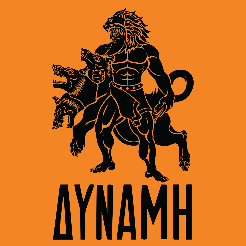 hercules-greek-mythology-mythos-cerberus-beast-12-labors-strength-illustration-adobe-illustrator-raskol-apparel-tshirt-design-roberto-orozco-orozcodesign-art-artist-roberto-artist-orange-image